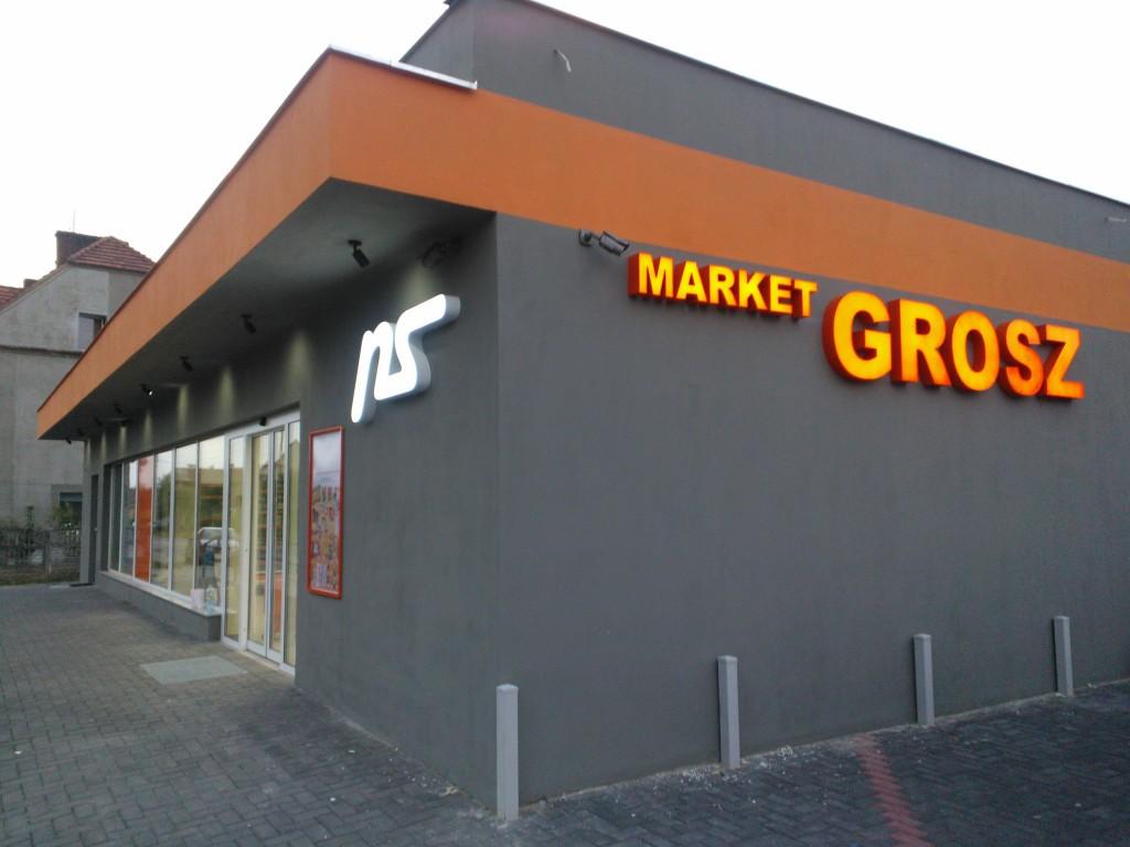 Litery podświetlane sklep grosz lico pomarańczowa plexi boki malowane ral